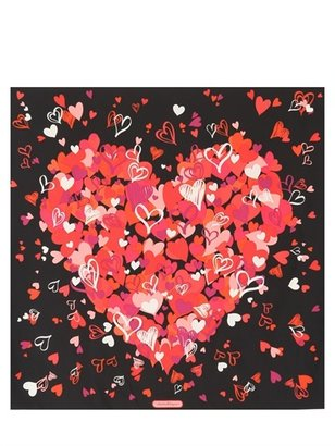 Salvatore Ferragamo Silk Twill Hearts Printed Foulard