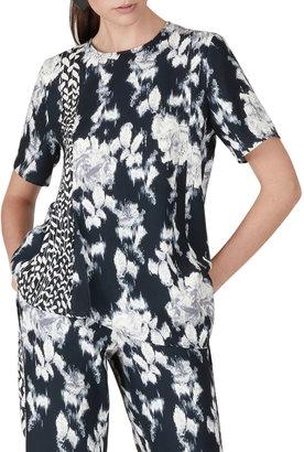 Natori Tie-Dye Floral Crepe Asymmetrical Hem Top