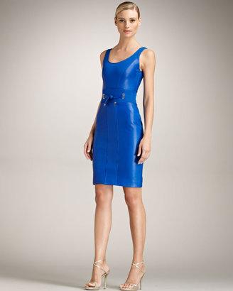 Versace Tie-Waist Leather Dress