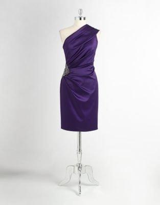 Eliza J One-Shoulder Satin Dress