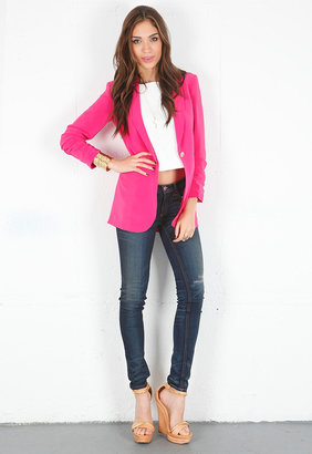 Elizabeth and James Crepe Heather Blazer in Chalk White -