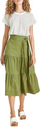 Veronica Beard Jeans Trail Striped Tiered Midi Dress with Belt