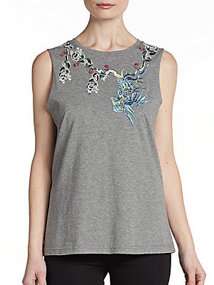 Elizabeth and James Embroidered Muscle Tank