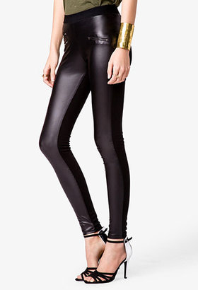 Forever 21 Faux Leather Zippered Leggings