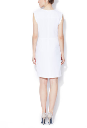 Crepe V-Neck Sheath Dress with Folded Sleeve Cuffs