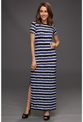 MICHAEL Michael Kors Petite Kyoto Stripe Long Dress (Dark Midnight) - Apparel