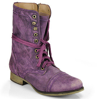 Steve Madden Troopa - Combat Boot in Purple Leather