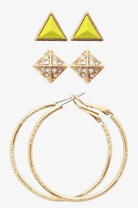 Gold & Lime Pyramid Stud & Hoop Earring Set