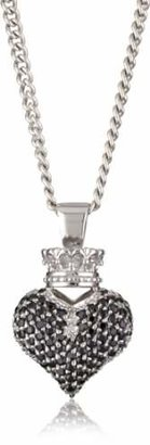 King Baby Studio Crowned Heart Large 3D Pave Cubic Zirconia Pendant Necklace