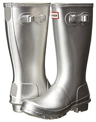 Hunter Original Metallic Rain Boot (Little Kid/Big Kid) (Silver) Girls Shoes