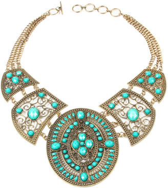 Amrita Singh Resin-Bead Bib Necklace, Turquoise