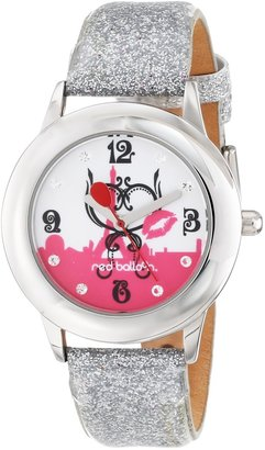 EWatchFactory Red Balloon Kids' W000357 Paris L 'Amour Tween Glitz Stainless Steel Silver Glitter Leather Strap Watch