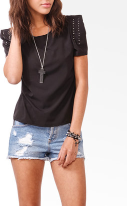 Forever 21 Bejeweled Pleated Shoulders Top