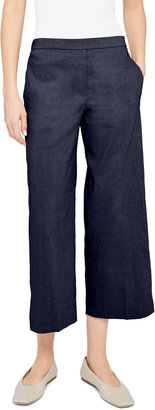 Theory Wide-Leg Cropped Pull-On Pants