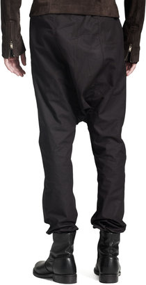 Rick Owens Drawstring Drop-Seat Pants, Black