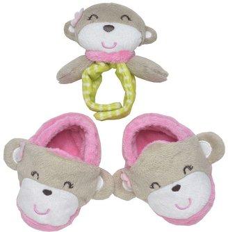Carter's monkey bootie & rattle set