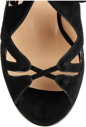 Nicholas Kirkwood Patent-leather and suede slingback sandals