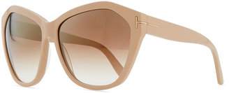 Tom Ford Angelina Squared Cat-Eye Sunglasses, Nude Pink