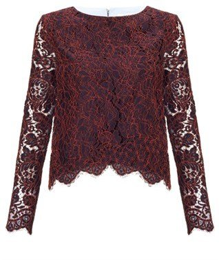 Carven Burgundy Lace Poplin Top