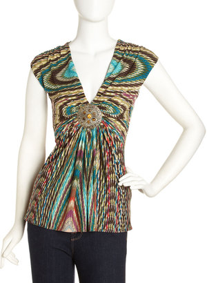 Sky Ruched Ornament-Detail Top, Green/Brown