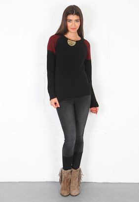 IRO Piper Colorblock Sweater in Burgundy/Black