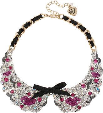 Betsey Johnson Pink Lips Crystal Collar