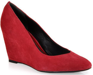 Brian Atwood B by Beso - Suede Wedge Pumps in Red