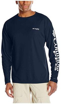 Columbia Terminal Tackletm L/S Shirt (Collegiate Navy/White Logo) Men's T Shirt