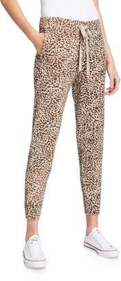 Monrow Mini Leopard Sporty Sweatpants