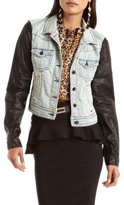 Charlotte Russe PU Sleeve Denim Jacket