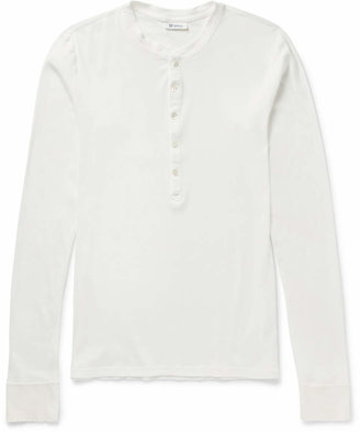 Schiesser Ribbed Cotton-Jersey Henley T-Shirt $125 thestylecure.com
