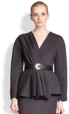 Fendi Fleece Wool Peplum Jacket