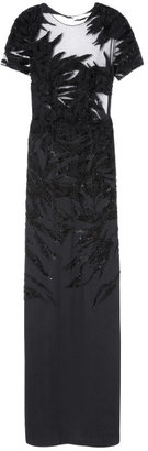 Jason Wu Preorder Short Sleeved Combo Botanical Embroidered Silk Crepe And Tulle Gown