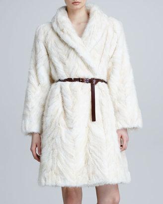 Marc Jacobs Mink Fur Herringbone Coat, Ivory