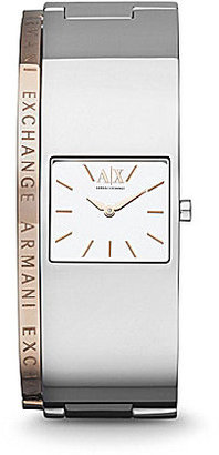 Armani AX Ravenna Stainless Steel IP Rose Gold Logo Etched Watch