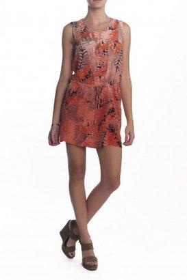 Gypsy 05 Etretat Fern Print Drop Waist Mini Dress Salmon Blush