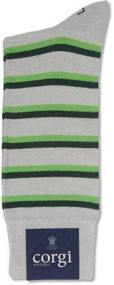 Corgi Striped Cotton-Blend Socks