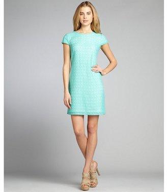 Suzi Chin mint stretch cotton lace cap sleeve shift dress