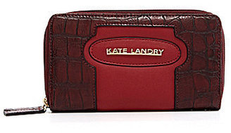 Kate Landry Croco Inset Double Zip-Around Wallet