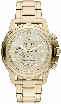 Fossil Men Chronograph Dean Gold-Tone Stainless Steel Bracelet Watch 45mm FS4867