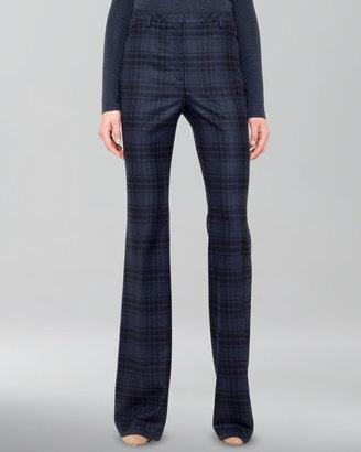 Akris Plaid Wool Flannel Pants, Denim/Black