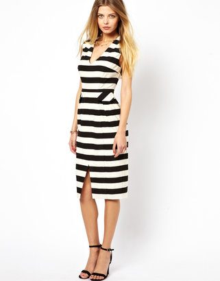 Asos Pencil Dress In Stripe With Deep V