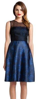 Cynthia Steffe Sleeveless Printed Dress with Sheer Bodice Overlay