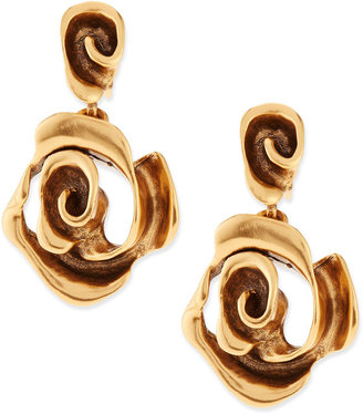 Oscar de la Renta Golden Rose Drop Earrings