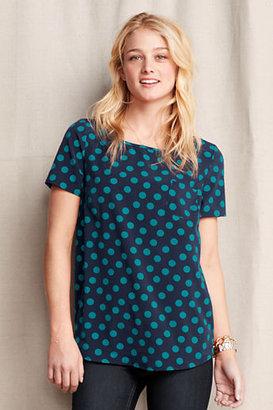 Lands' End Women's Short Sleeve Pattern Stretch Shirt