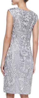 Sue Wong Sleeveless Beaded Embroidered Cocktail Dress