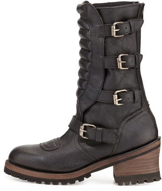 Ash Strike Mid-Calf Leather Buckle Moto Boot, Black