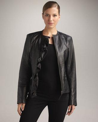 Neiman Marcus Ruffle-Front Leather Jacket