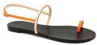 "Giuseppe Zanotti E30171"" Orange Leather Jeweled Toe Ring Flat Sandal"
