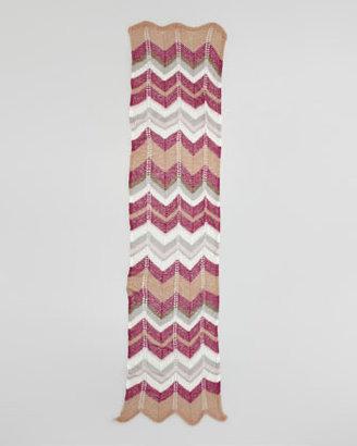 Missoni Loose Knit Scarf, Pink/Gray/Brown